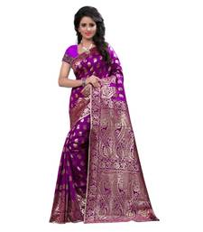 Buy purple embroidered banarasi silk saree With Blouse black-friday-deal-sale online