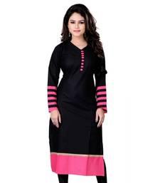 Buy Black and pink plain cotton kurti kurtas-and-kurti online