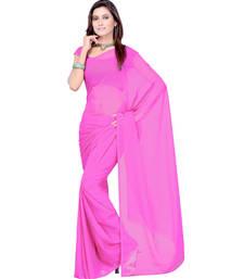 Buy Pink plain georgette saree With Blouse below-400 online
