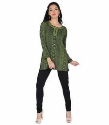 Buy Black and green american crepe printed stitched kurti kurtis-below-500 online