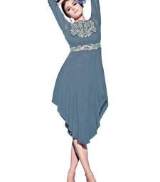 Buy Grey embroidered georgette semi stitched kurti kurtas-and-kurti online