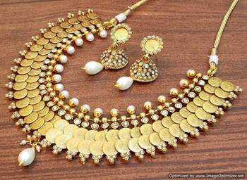 India temple jewelry Antique golden Colored Stone temple jewellery coin necklace set