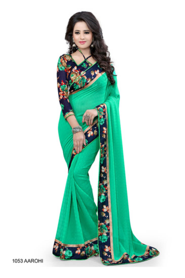Buy Green Plain Saree With Floral Printed Border Online