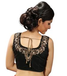 Buy Black zari embroidery chanderi silk stitched blouse blouse online