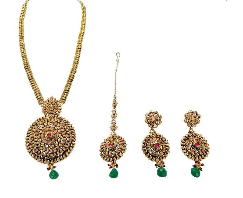 Buy Antique long necklace set artificial jewellery Online