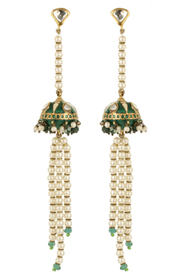 Pure collectiongreen and white gold plated pearl beaded earrings