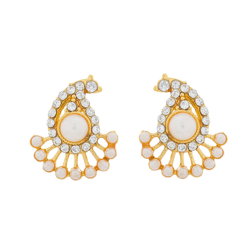 Buy Golden And White American Diamond And Pearls Earrings