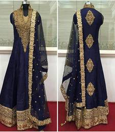 Buy navy blue cotton_silk semi stitched salwar with dupatta semi-stitched-salwar-suit online