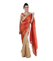 Buy gold plain shimmer saree With Blouse shimmer-saree online