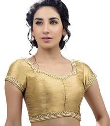 Buy golden no embroidery stitched dupion silk readymade blouses readymade-blouse online