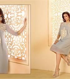 Buy Grey georgette embroidered stitched kurti georgette-kurti online