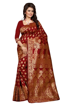 Maroon plain Banarasi silk saree With Blouse