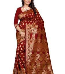 Buy Maroon plain Banarasi silk saree With Blouse banarasi-silk-saree online