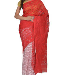 Buy White & Red Bengal handloom  Silk Cotton  jamdani sari without Blouse handloom-saree online
