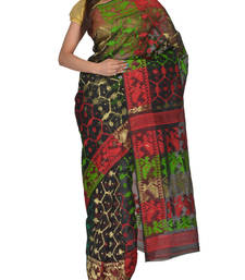 Buy Black & Multicolour Bengal handloom  Silk Cotton  jamdani sari without Blouse handloom-saree online