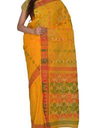 Buy Yellow Bengal handloom Cotton Jari sari without Blouse handloom-saree online