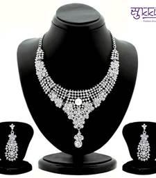 Buy Sukkhi Luxurious Rhodium plated AD Stone Studded Necklace Set 1096VN1800 necklace-set online