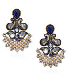 Buy Royal Blue Mughal Paisley Earrings danglers-drop online