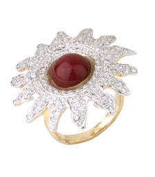 Buy HAPPINESS Collection Maroon Colour Pearl Studded Sunflower Ring For Women Ring online