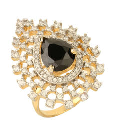 Buy HAPPINESS Collection Black Colour Studded Shimmer Cocktail Ring For Women Ring online