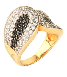 Buy HAPPINESS Collection Black Sparkling Shimmer Finger Band For Women Ring online