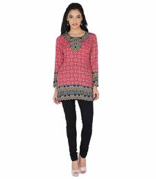Buy Red american crepe printed stitched kurti plus-size-kurtis online