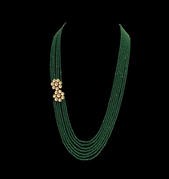 Green stones and kundan flower multistrand necklace