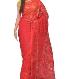 Buy Red hand woven cotton silk saree handloom-saree online