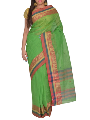Parrot green hand woven cotton saree