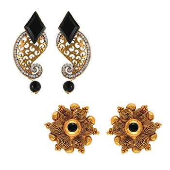 Traditional ethnic combo of elegant two earrings with crystals stones for women