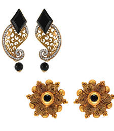 Buy Traditional ethnic combo of elegant two earrings with crystals stones for women jewellery-combo online