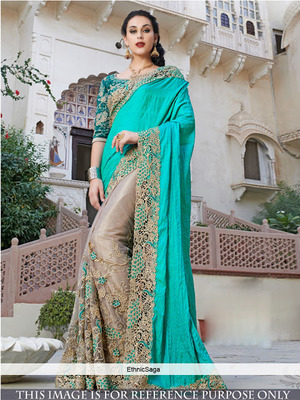 cyan embroidered net saree With Blouse