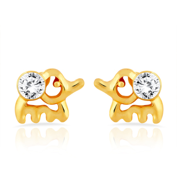 Gold Plated Cute Eleplant Stud Earrings with Crystal for Women