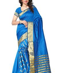 Buy Firozi plain art silk saree With Blouse art-silk-saree online