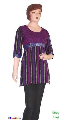 Ethnic Touch - Black,Purple and Maroon Kurti with weaving patch