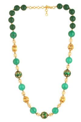 BLISS Collection Green Colour Ethnic Beaded Mala For Women