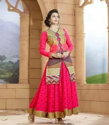 Buy Purple georgette embroidered semi stitiched salwar with dupatta indowestern online