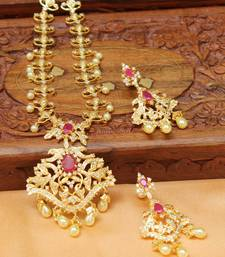 Buy Designer Gold plated necklace set south-indian-jewellery online