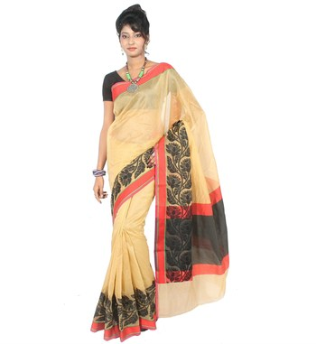 beige woven super net saree With Blouse