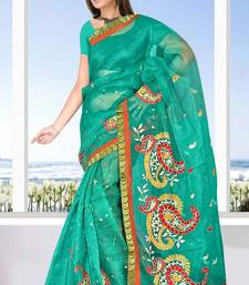 Buy Super net saree attached brocket border and blouse - 421 supernet-saree online
