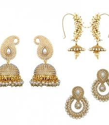 Buy Classic combination of 3 pearl earrings, a must have for your wardrobe danglers-drop online