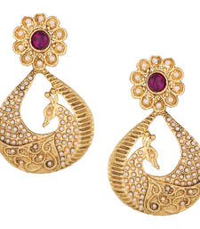Buy Peacock earrings bridal jewellery sets kundans earrings danglers-drop online