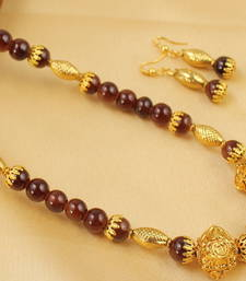 Buy LOVELY HANDMADE BROWN NECKLACE SET DJ04427 south-indian-jewellery online