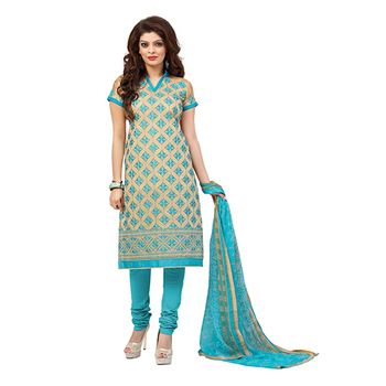 Beige and sky blue embroidered chanderi unstitched salwar with dupatta