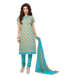 Buy Beige and sky blue embroidered chanderi unstitched salwar with dupatta straight-suit online