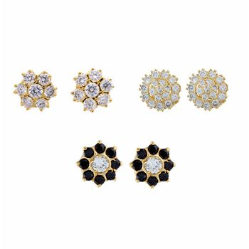 Black gold plated stud earrings