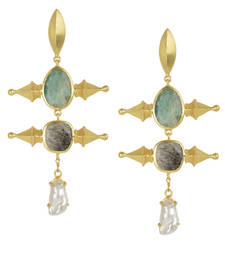 Buy Golden Earrings with Green Aventurine  Black Rutial and Viva Pearl danglers-drop online