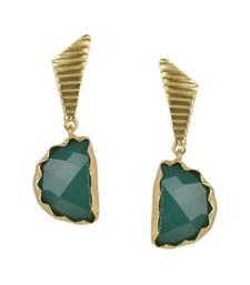Buy Golden Earrings with Green Onex Stone stud online