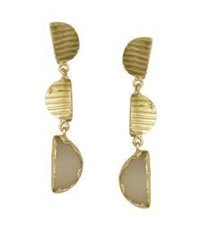Buy Golden Earrings with White Moon Stone danglers-drop online