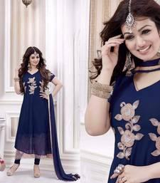 Buy Blue georgette embroidered semi stitched salwar with dupatta bollywood-salwar-kameez-online online